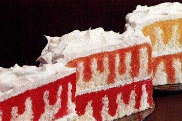 Jell-O Rainbow Poke Cakes - closeup