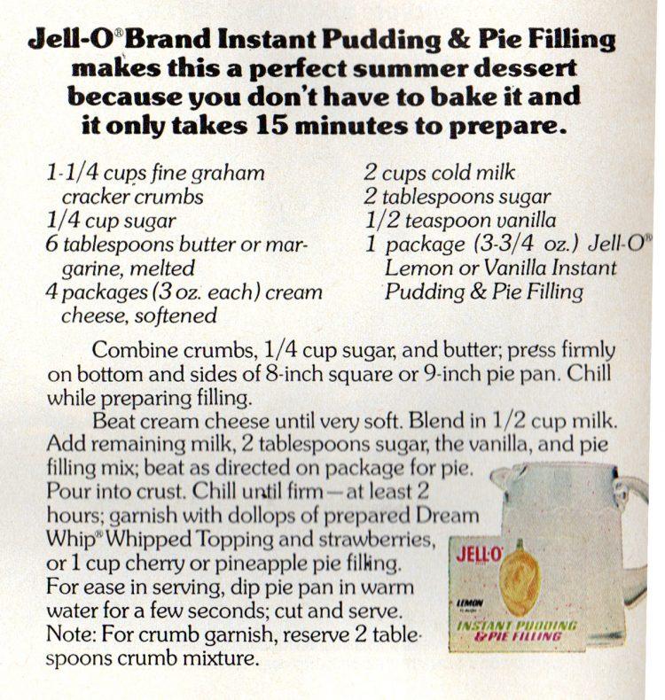 Jell-O no-bake pudding cheesecake retro recipe card (1972)