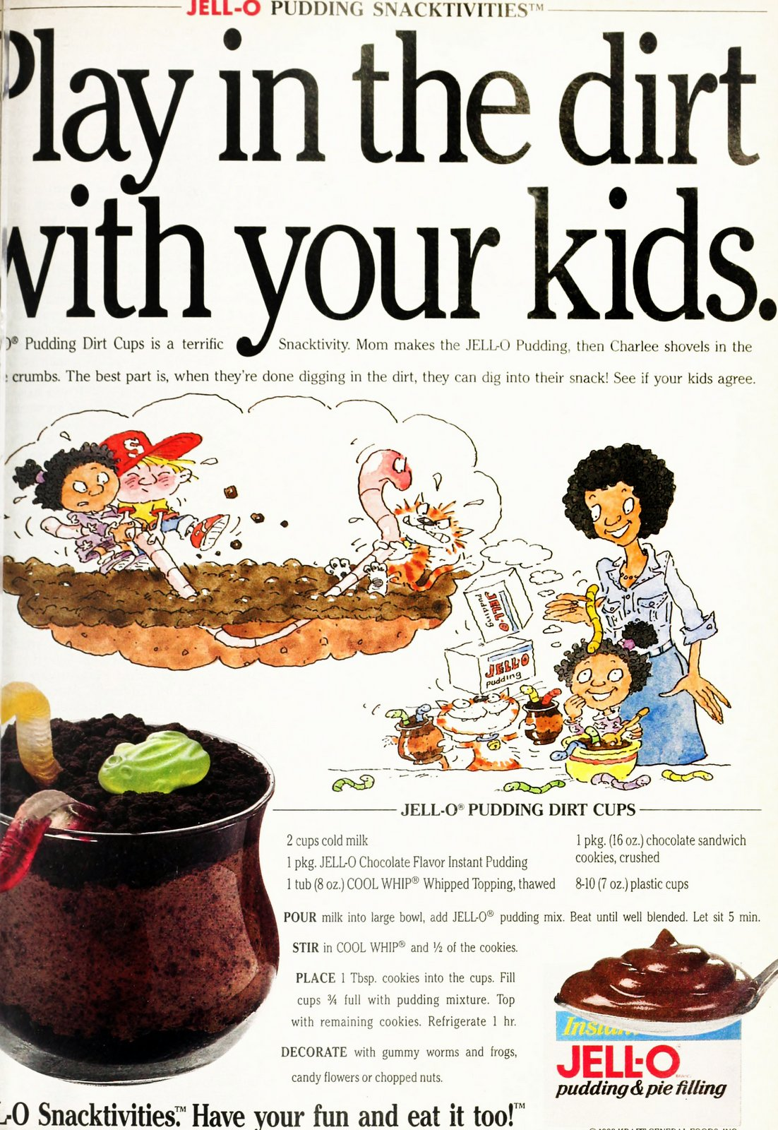 Jell-o pudding dirt cups Oreo crumbs recipe (1993)
