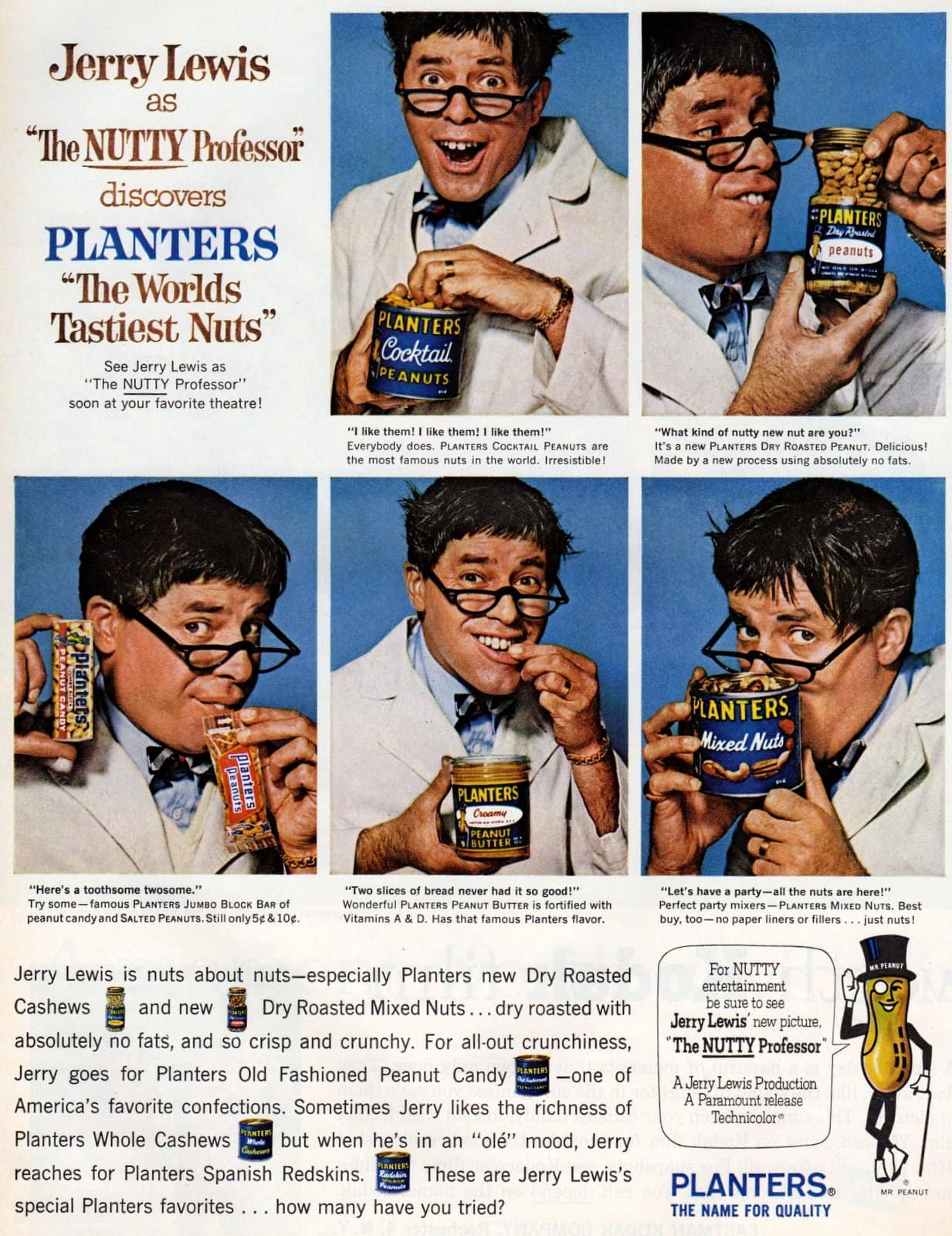 Jerry Lewis as The Nutty Professor for Planters nuts (1963)