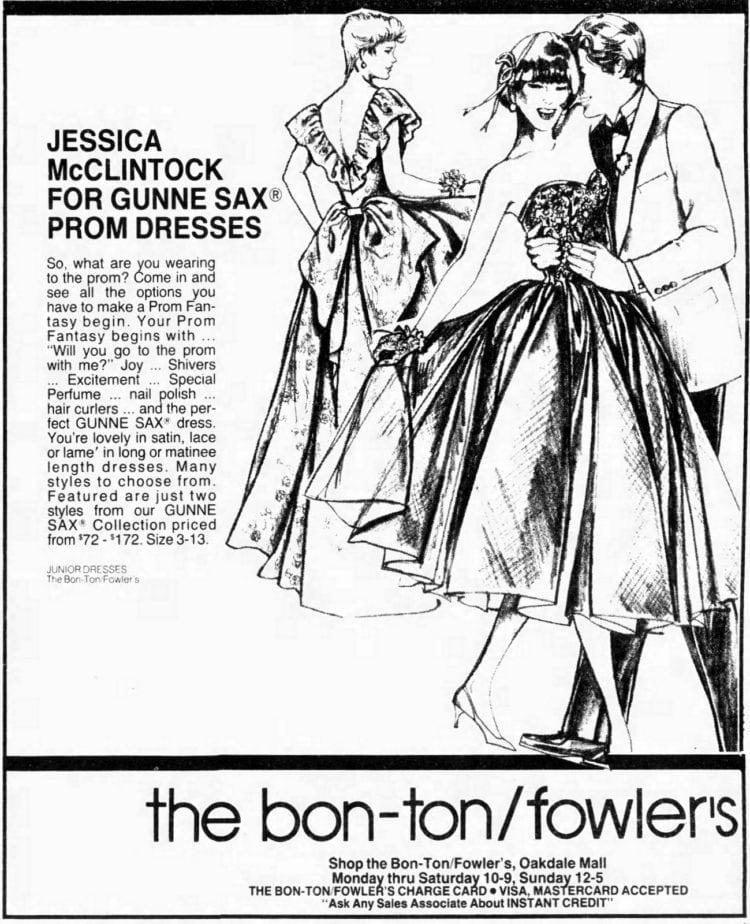 Jessica McClintock Gunne Sax prom dresses for 1987
