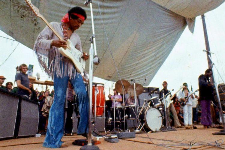 Jimi Hendrix onstage at Woodstock 1969