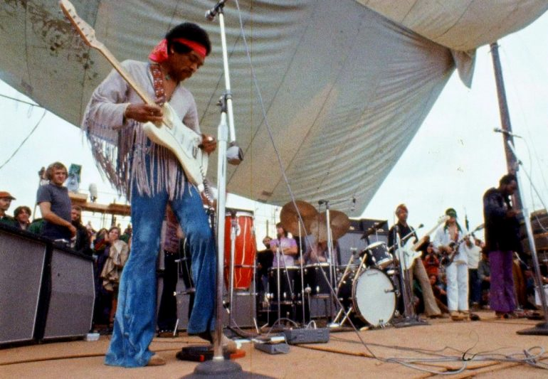 Jimi Hendrix onstage at Woodstock 1969