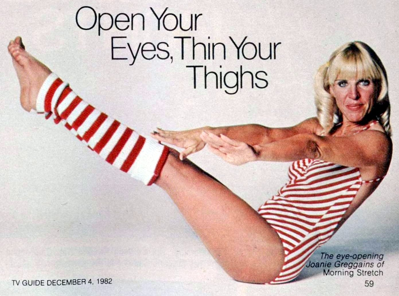 Joanie Greggains of Morning Stretch TV show in red and white workout gear (1982)
