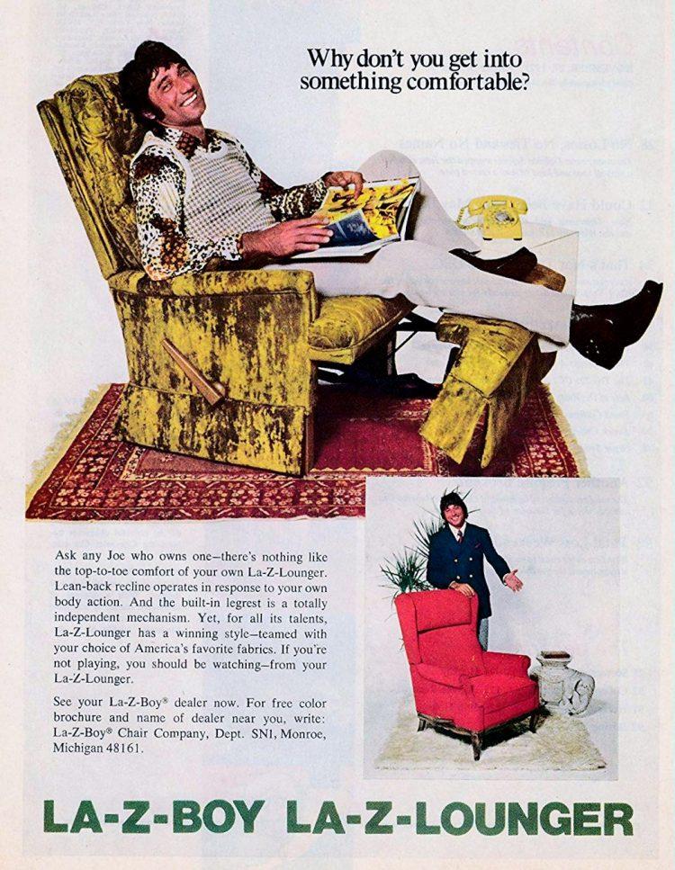 Joe Namath - Vintage Lazy Boy Lounger recliner green velvet