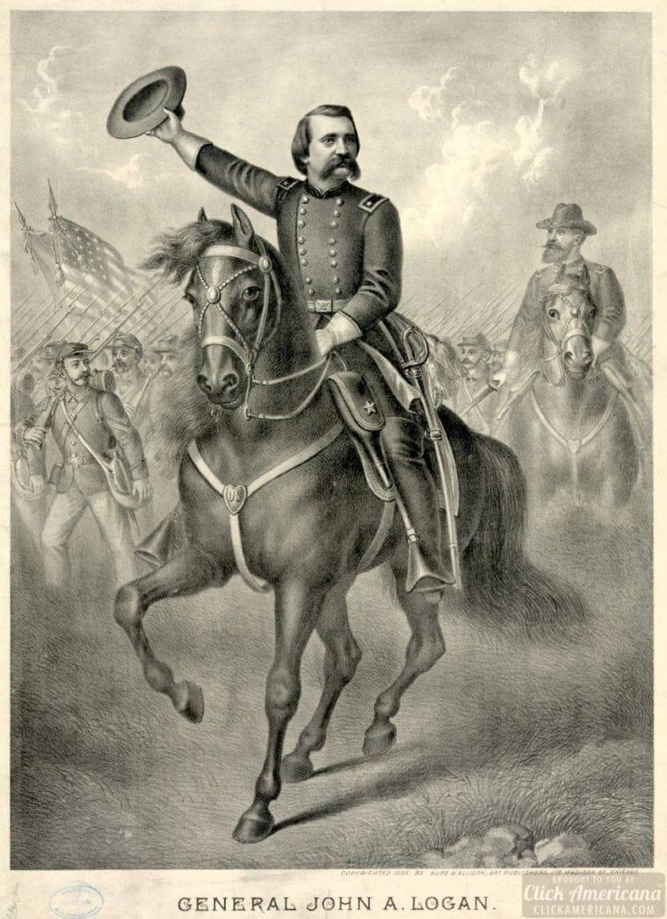 John A. Logan on horseback