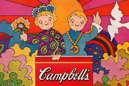 John Alcorn's vintage psychedelic Campbell's Tomato Soup Poster