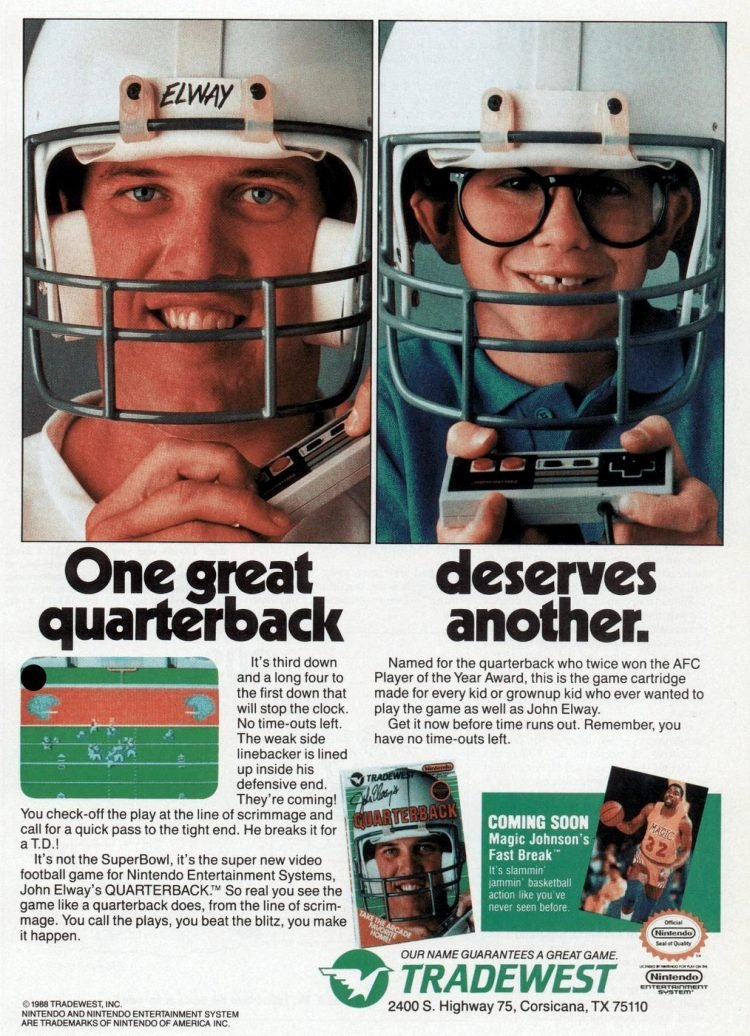 John Elway's Quarterback game for NES 1988
