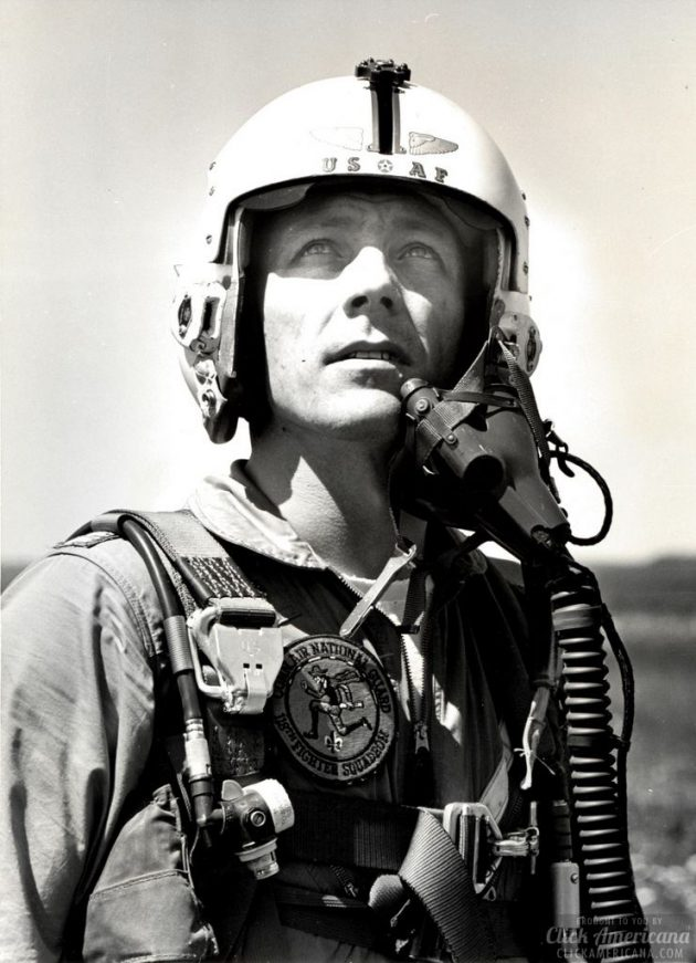 The late John L. Swigert Jr. in his flight suit adorned with a 118th Fighter Squadron patch, circa 1965. (U.S. Air National Guard file photo)