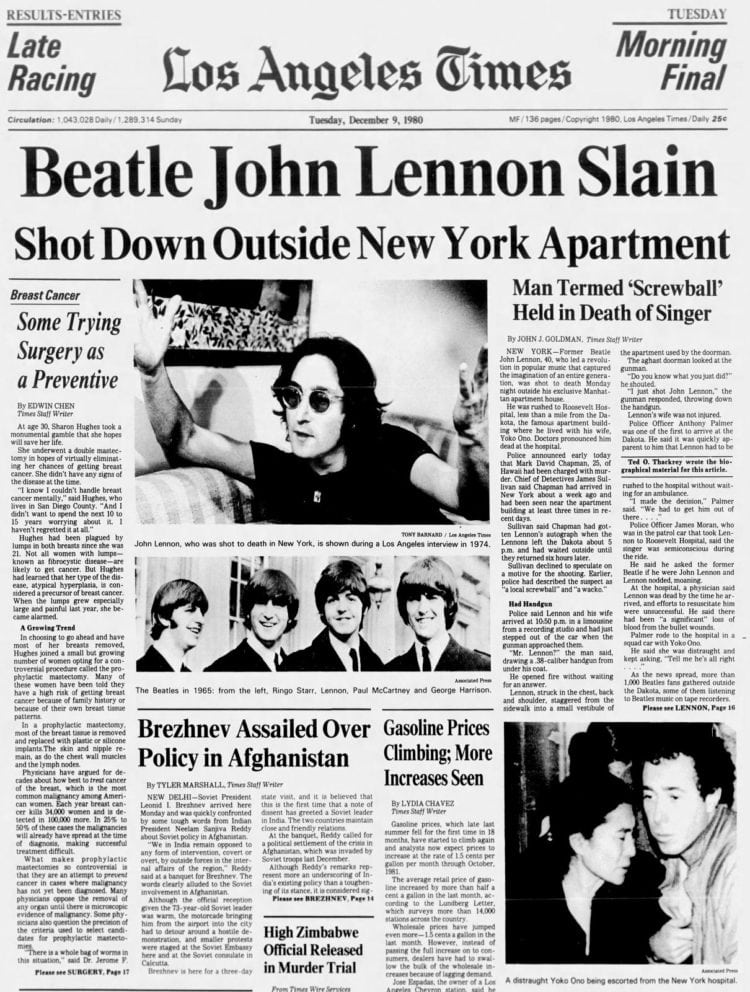 John Lennon killed - Los Angeles newspaper front page - December 9, 1980