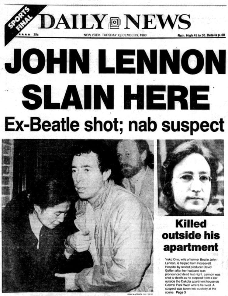 John Lennon killed - New York City newspaper front page - December 9, 1980
