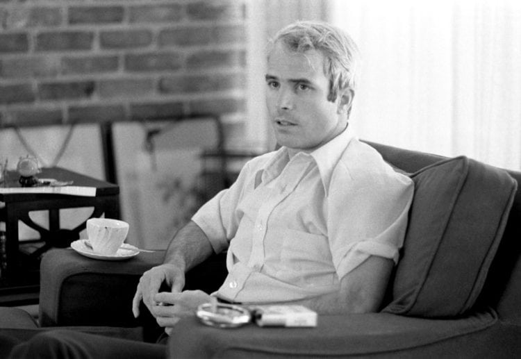 John McCain giving an interview to the press on April 24, 1973