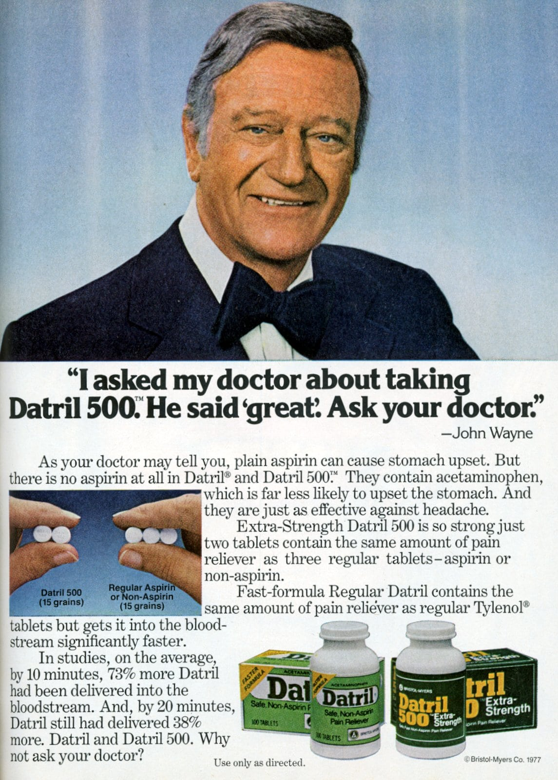 John Wayne for Datril 500 pain reliever (1970s)