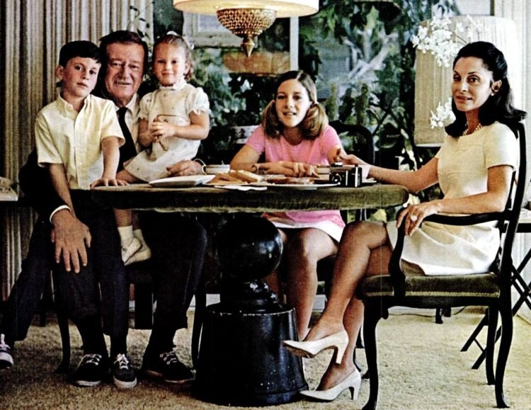 John Wayne in 1969 with his family