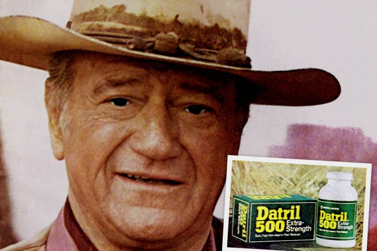 John Wayne introduced Datril 500 pain reliever (1970s)