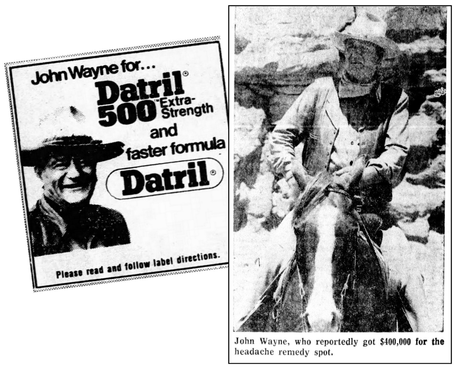 John Wayne introduced Datril 500 pain reliever