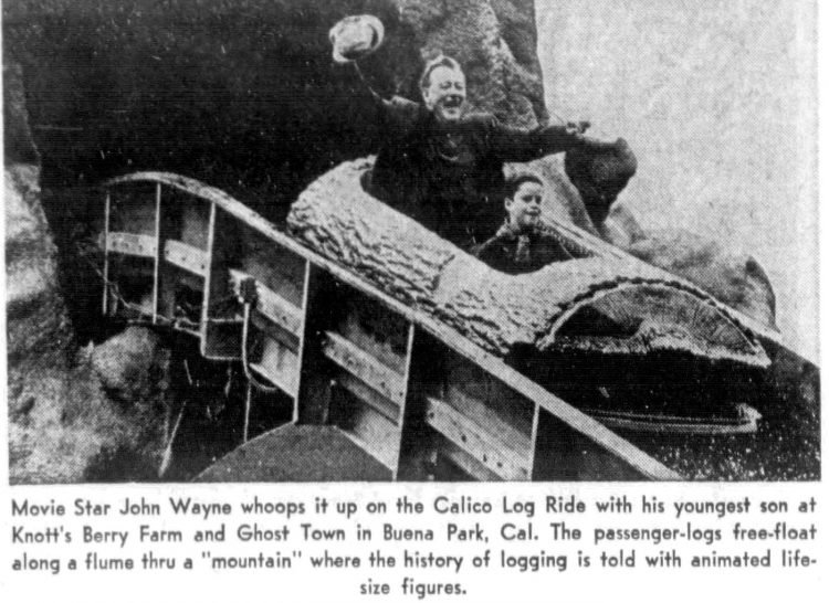 John Wayne on a log flume ride at Knott's Berry Farm in 1970
