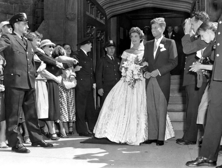 John and Jackie Kennedy leaving the church as husband and wife
