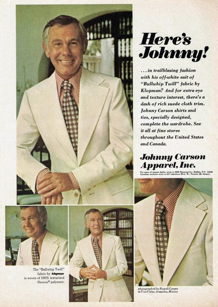 Johnny Carson Apparel inc clothing from the 1970s