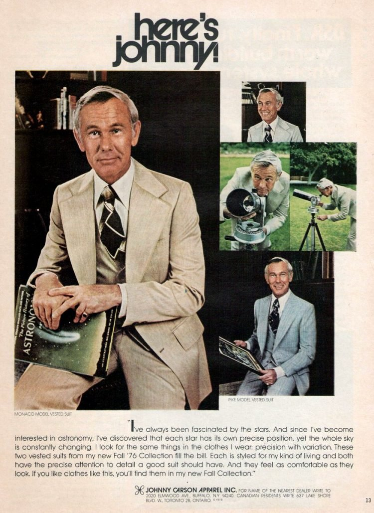 Johnny Carson in a vintage suit from 1978