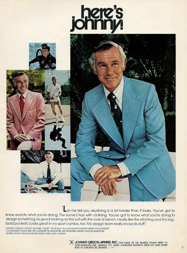 Johnny Carson in vintage suit style from 1970s