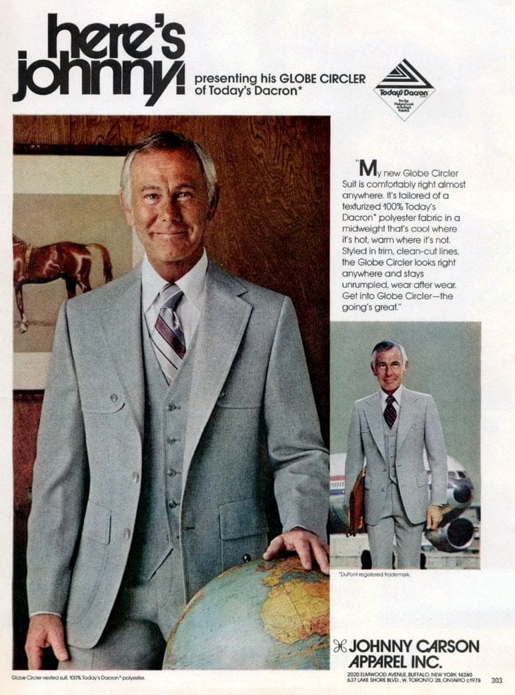 Johnny Carson in vintage suit style from 1978