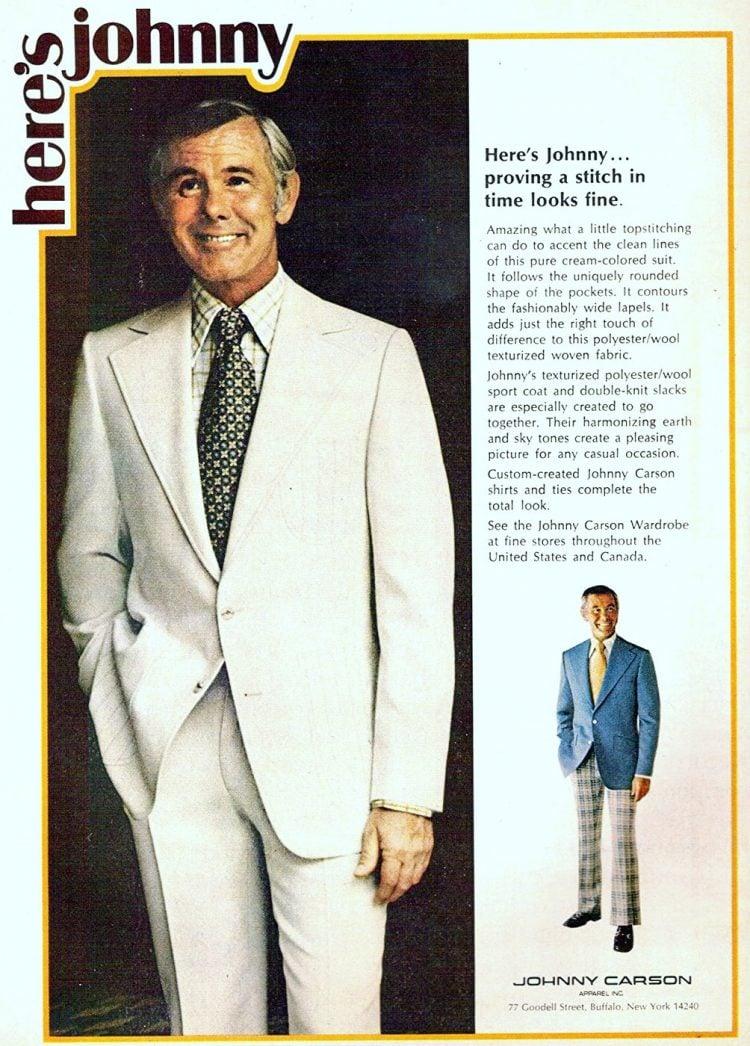 Johnny Carson suits and retro menswear