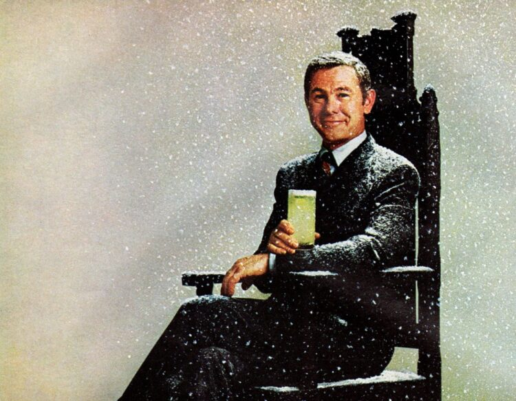 Johnny Carson with a drink in 1969
