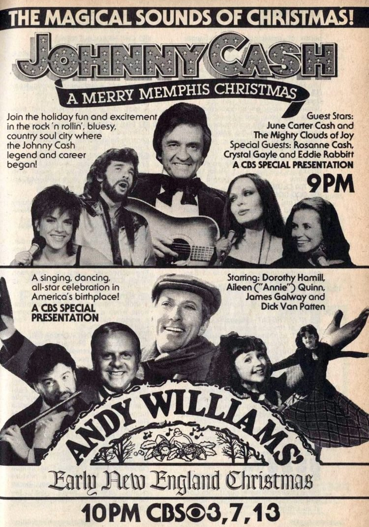 Johnny Cash and Andy Williams vintage Christmas Tv specials 1982