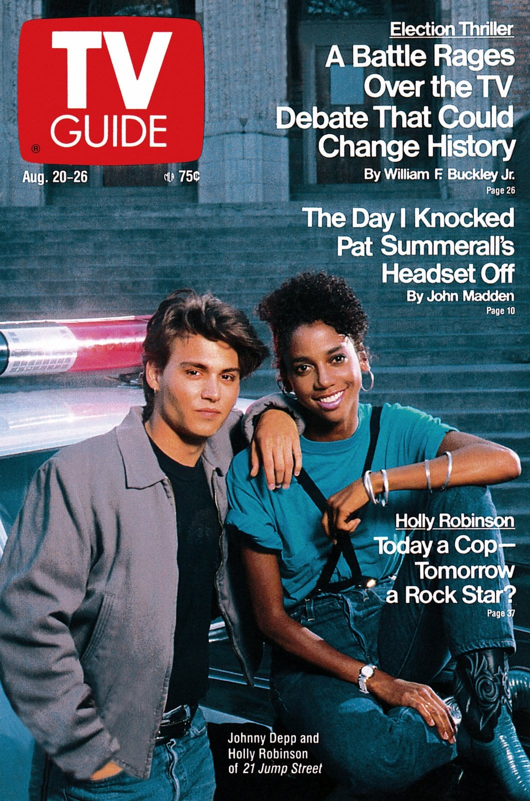 Johnny Depp and Holly Robinson - 21 Jump Street TV Guide cover - August 20, 1988