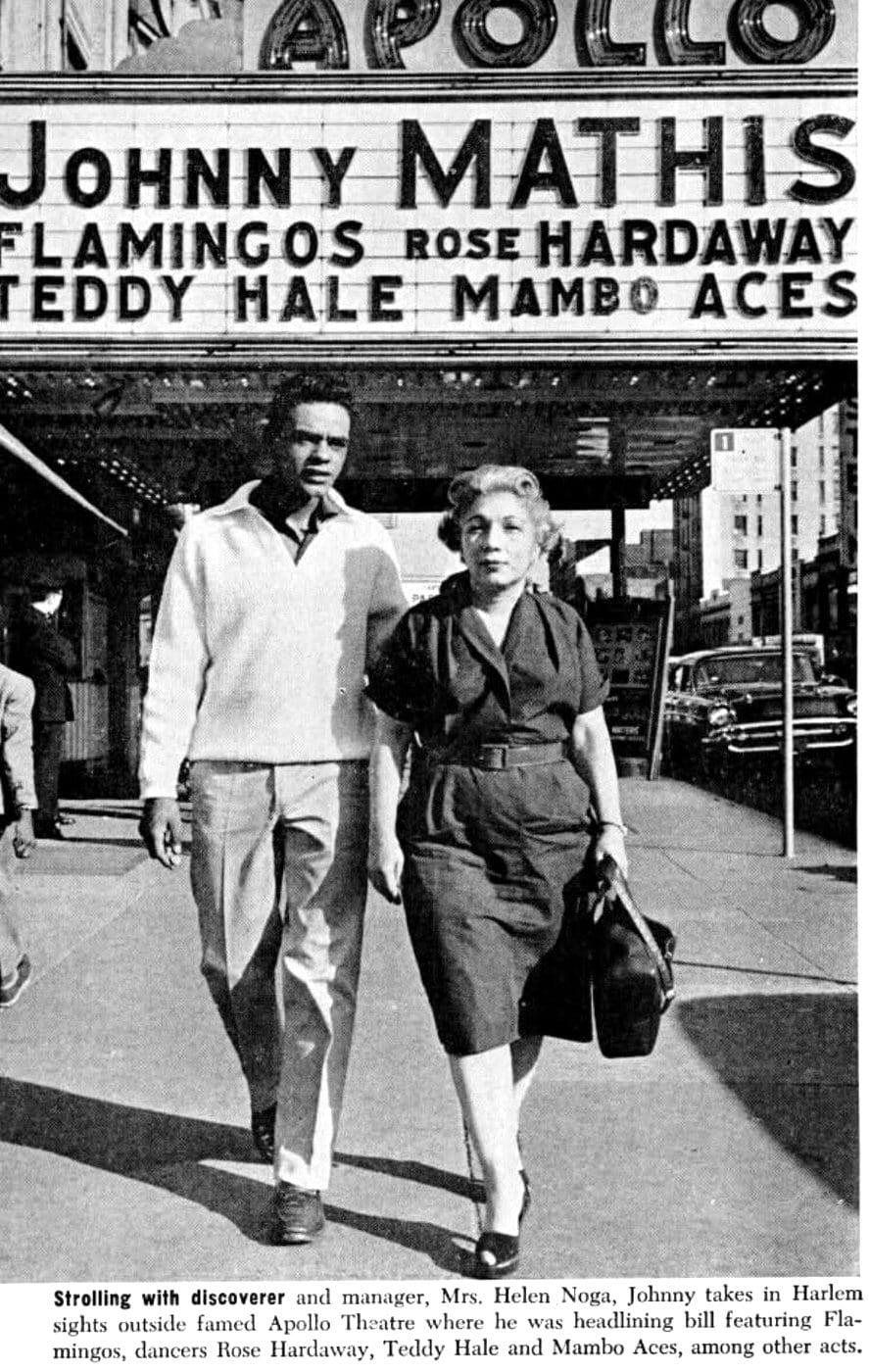 Johnny Mathis in front of the legendary Apollo Theater, with former manager Helen Noga in 1965