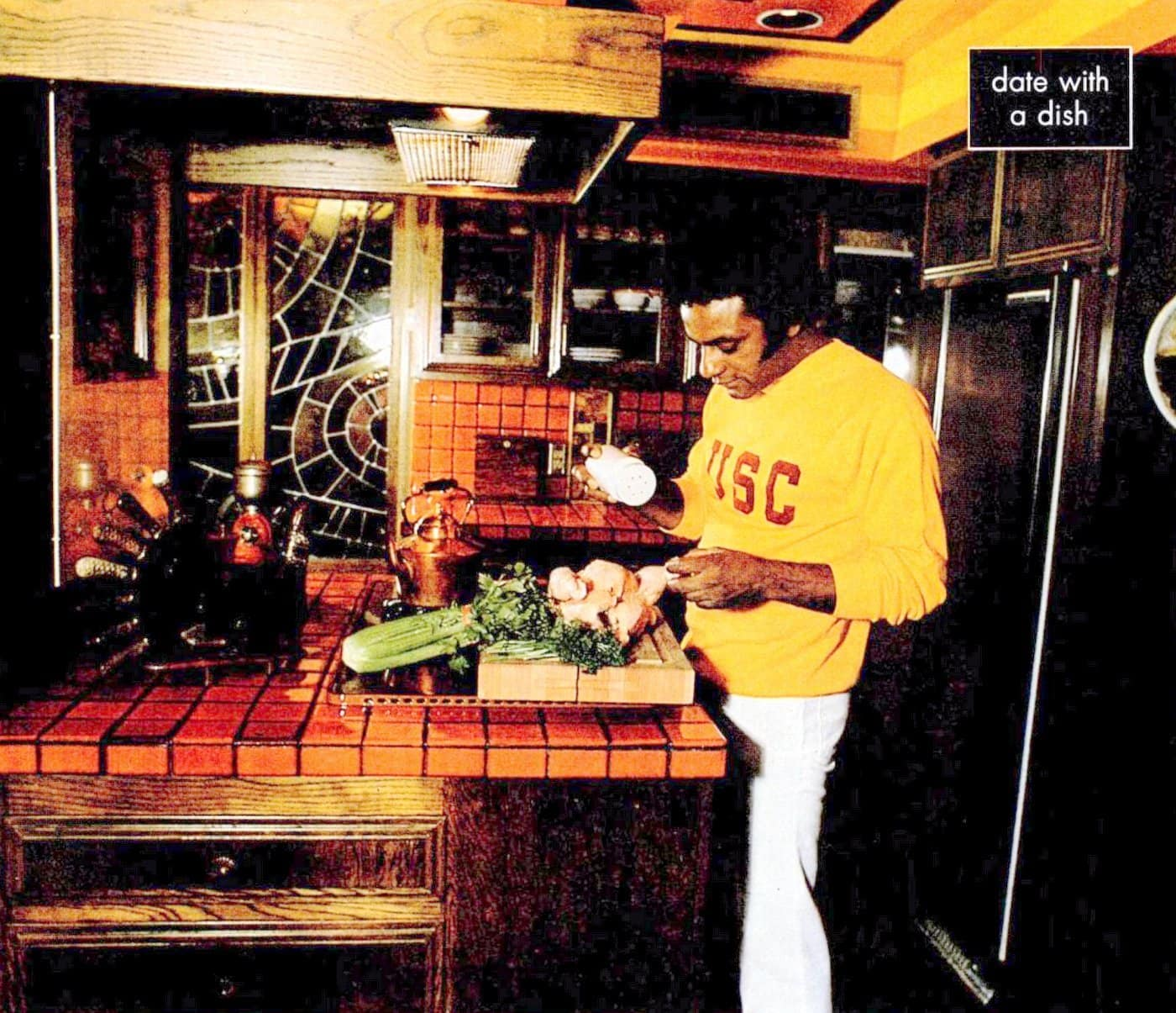 Johnny Mathis in his kitchen - 1970s