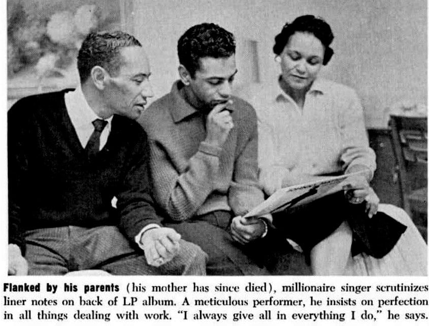 Johnny Mathis with his mother and father (photo published in 1965)