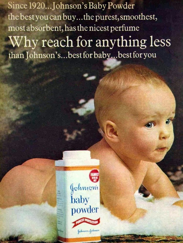 Johnson's Baby Powder Advertisement Ad April 1970