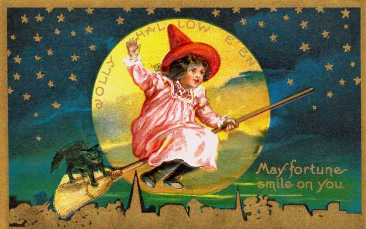 Jolly Hallowe'en antique postcard