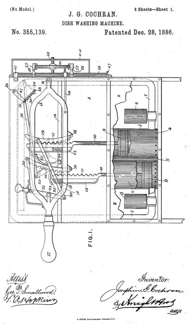 Josephine Garis Cochrane - dish washer invention patent 355139