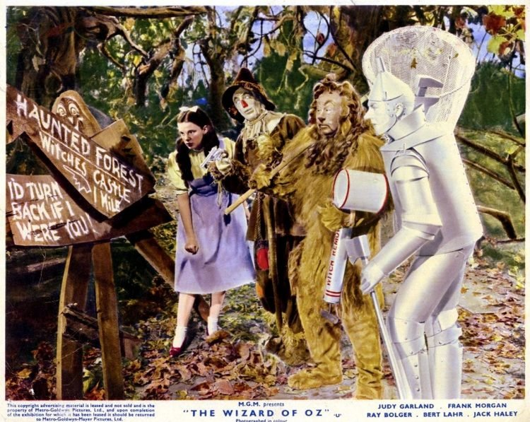 Judy Garland, Ray Bolger, Bert Lahr and Jack Haley in The Wizard of Oz 1939