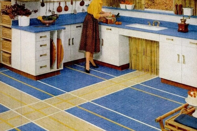 Vintage home style: Vinyl floor tiles in square patterns ...