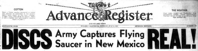 July 8 1947 Tulare Advance Register newspaper with flying saucer headlines