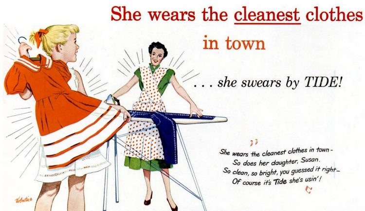 Jun 11, 1951 Housewife cleaning with Tide detergent home