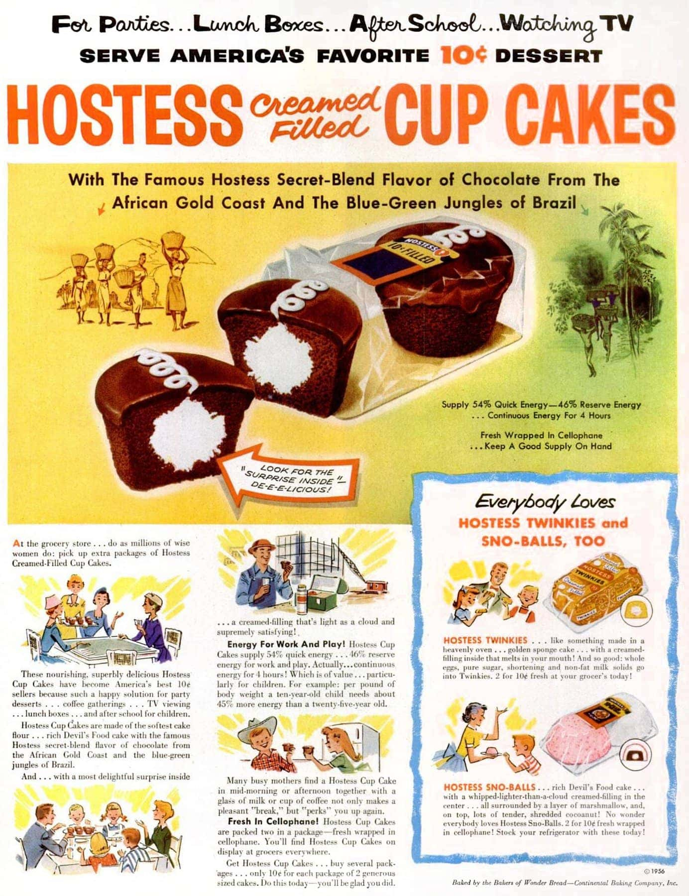 Jun 11, 1956 Hostess Ho Hos chocolate cupcakes - food