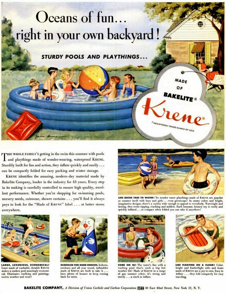 Jun 7, 1954 Bakelite Krene backyard swimming pools
