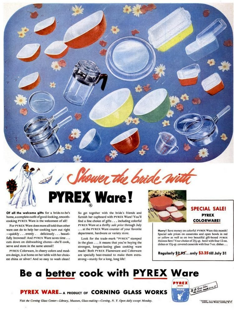 June 1952 - Pyrex kitchen for bridal shower