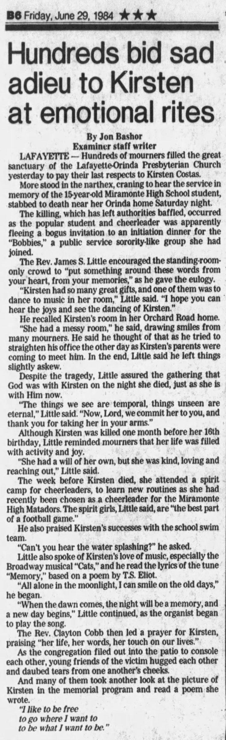 June 29 1984 - Kirsten Costas funeral