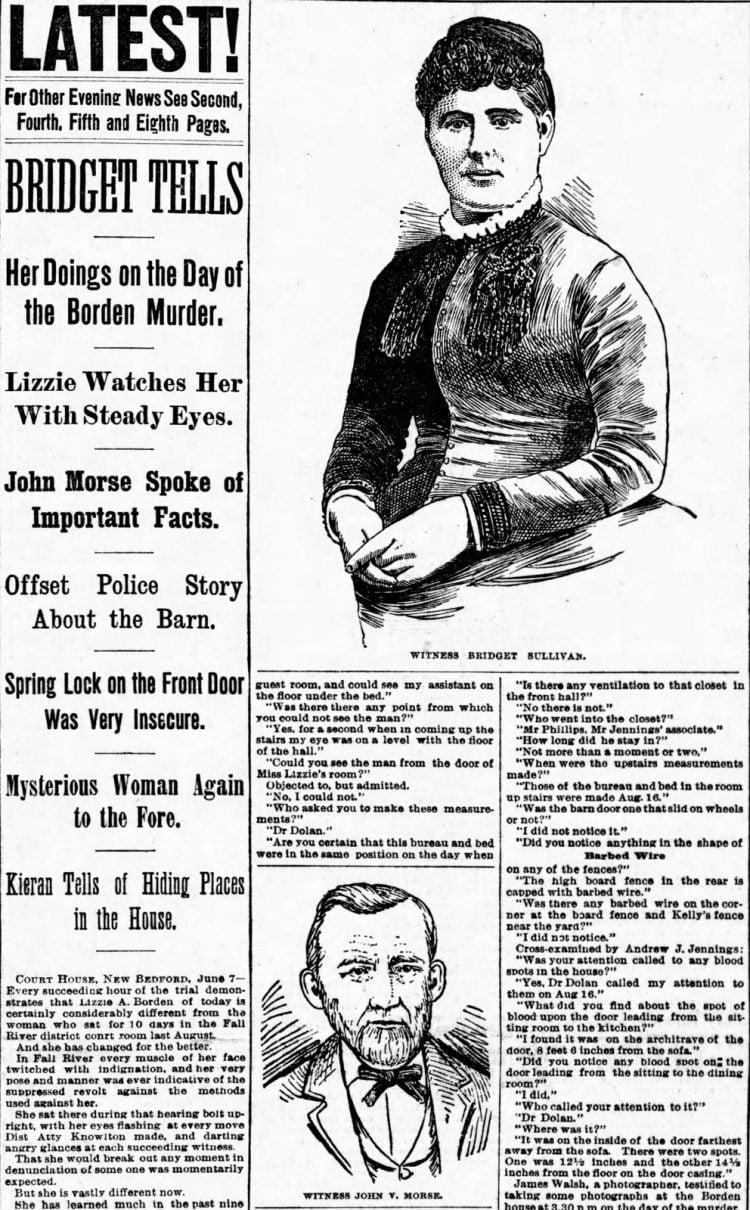June 7 1893 Newspaper report of Borden case testimony