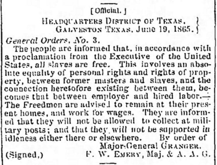 Juneteenth order of June 19, 1865 - Galveston