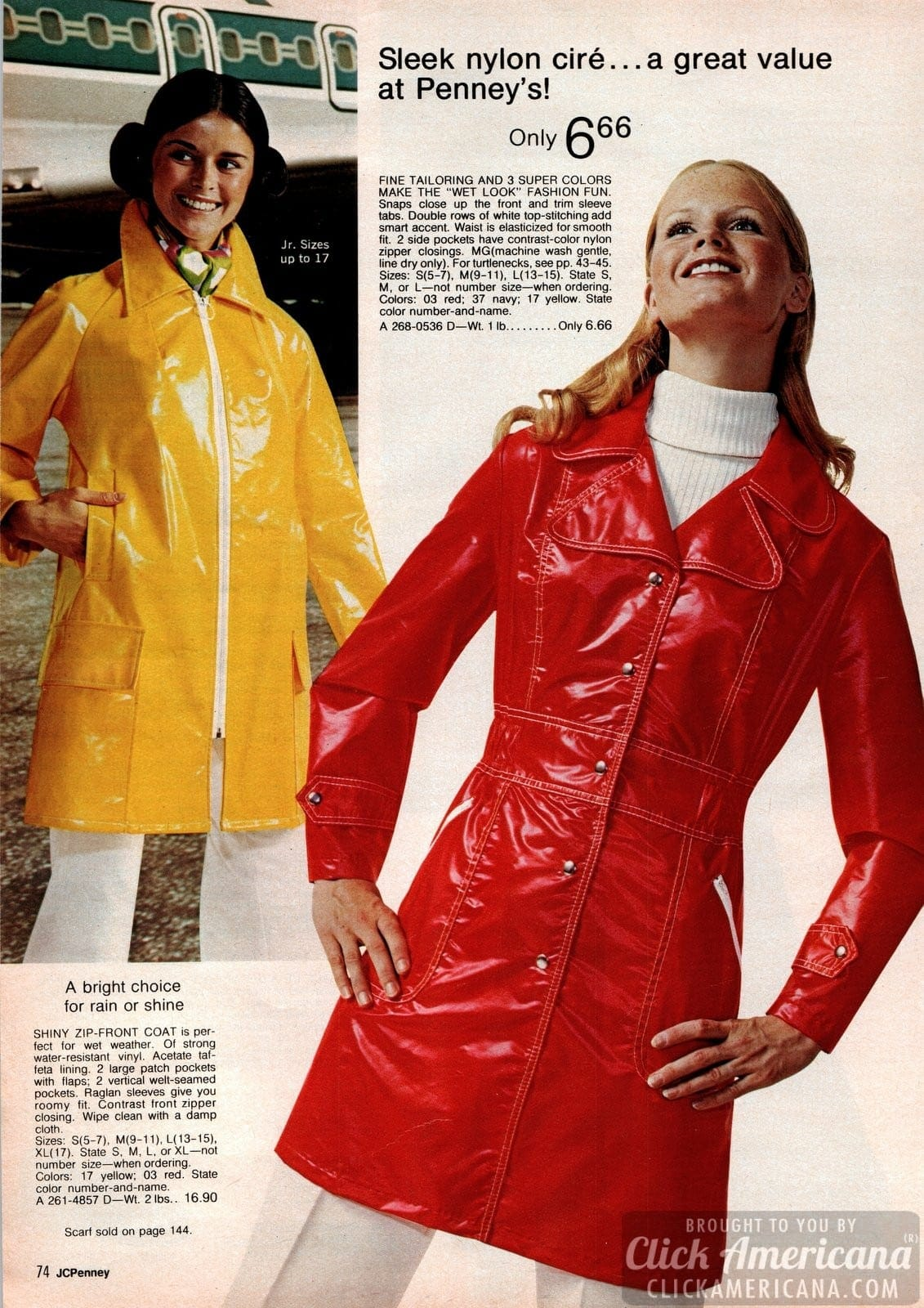 Juniors fashions for teens from 1973 JC Penney catalog
