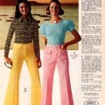 Low-slung flared-out double-knit and gabardine pants paired with body-hugging tops