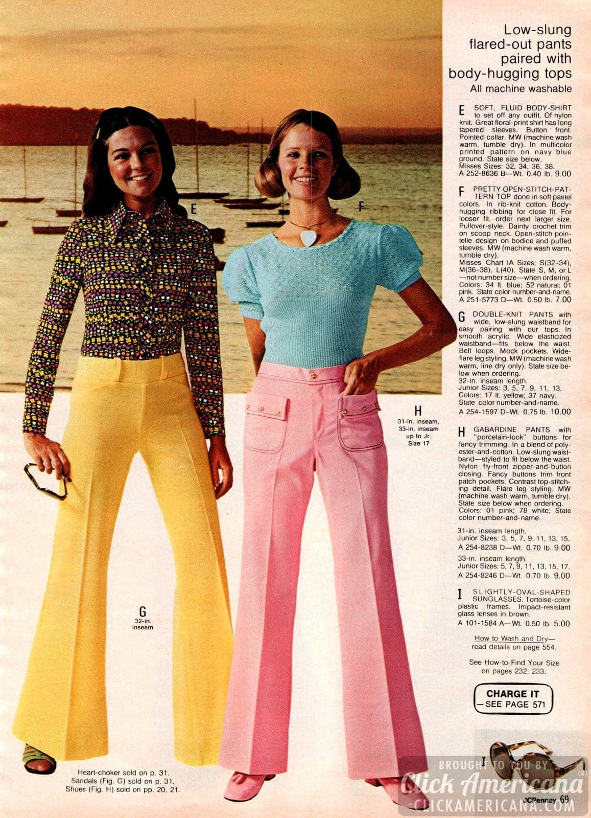 Retro low-slung flared-out double-knit and gabardine pants with body-hugging tops