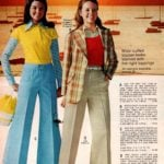 Wide-cuffed trousers, seersucker plaid blazer and corduroy flares from 1973
